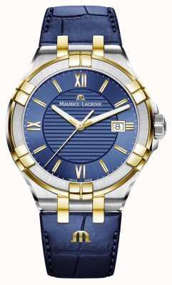 Maurice Lacroix 男士aikon蓝色和金色双色皮革表带 AI1008-PVY11-432-1