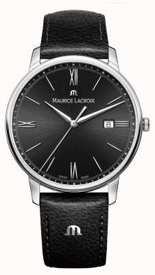 Maurice Lacroix 男士eliros黑色真皮表带黑色表盘 EL1118-SS001-310-1