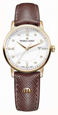 Maurice Lacroix 女装eliros棕色皮革表带镀金表壳 EL1094-PVP01-150-1