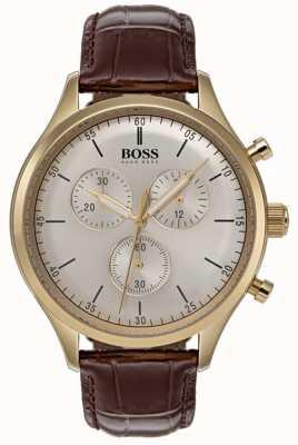 Hugo Boss 男士伴侣计时腕表棕色皮革表带 1513545