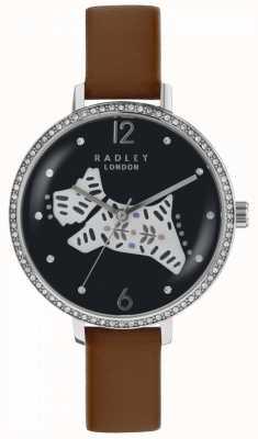 Radley 女装民间狗表黑色表盘棕色皮质表带 RY2585