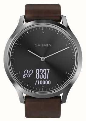 Garmin Vivomove hr高级活动追踪器钢/皮革 010-01850-04