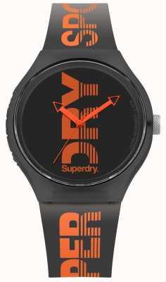 Superdry 城市黑色硅胶表带黑色表盘 SYG189BO