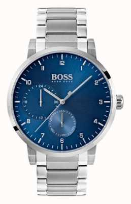 Hugo Boss 男士氧气蓝色手表不锈钢手链sunray表盘 1513597