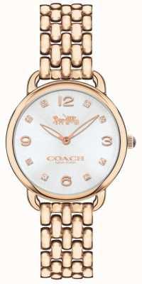 Coach 女士delancey超薄玫瑰色调手镯表银色表盘 14502783