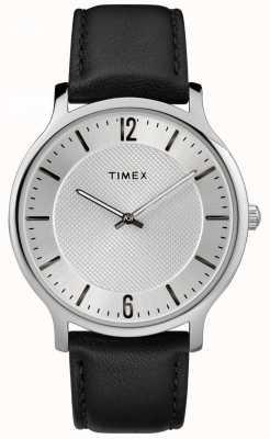 Timex 男士苗条天际线40毫米银色调表壳黑色皮革表带 TW2R50000