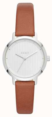 DKNY 女装现代派手表棕色皮革表带 NY2676