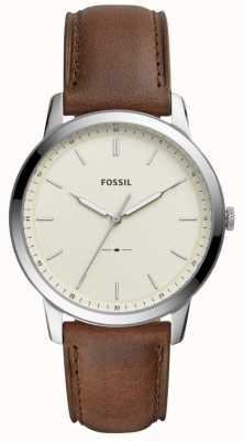 Fossil 男士简约棕色真皮表带手表 FS5439