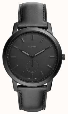 Fossil 男士极简黑色皮革表带手表 FS5447