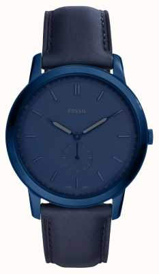 Fossil 男士极简蓝色皮革表带手表 FS5448