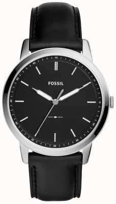 Fossil 男士极简黑色皮革表带手表 FS5398