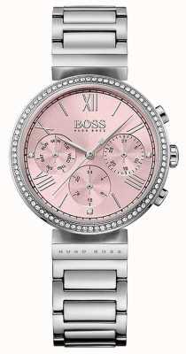 Hugo Boss 粉色表盘水晶镶嵌表圈不锈钢表链 1502401