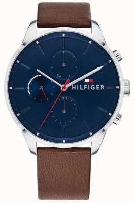 Tommy Hilfiger 男士追逐计时码表棕色皮革表带蓝色表盘 1791487