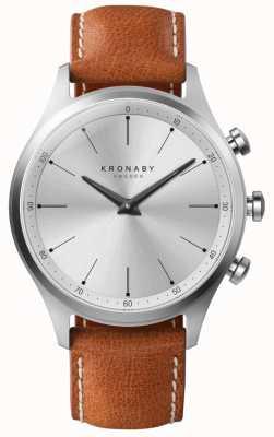Kronaby 41毫米sekel银色表盘棕色皮表带a1000-3125 S3125/1