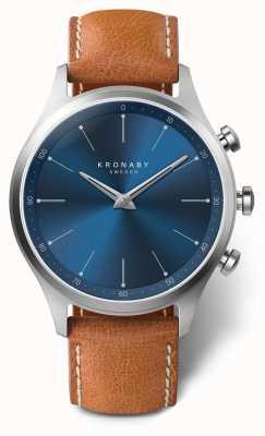 Kronaby 41毫米sekel蓝色表盘棕色皮革表带a1000-3124 S3124/1