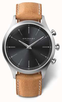 Kronaby 41毫米sekel黑色表盘棕色皮表带a1000-3123 S3123/1