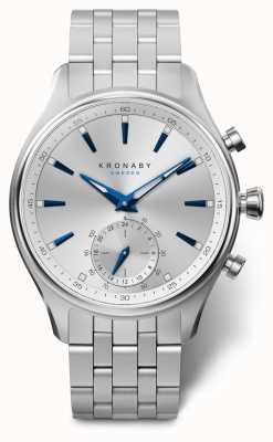 Kronaby 41毫米sekel银色表盘不锈钢表链 A1000-3121