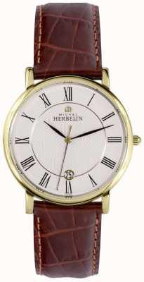 Michel Herbelin 经典日期显示黄金不锈钢表壳棕色皮革 12248/P08MA