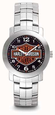 Harley Davidson 男士标志打印表盘不锈钢手镯 76A019