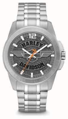 Harley Davidson 徽标印花表盘银色不锈钢表壳和表链 76A157
