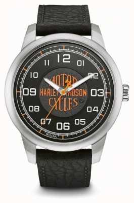 Harley Davidson 橙色标志黑色表盘不锈钢表壳黑色皮革 76A155