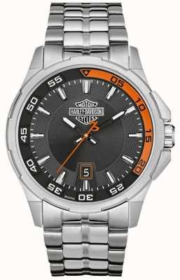 Harley Davidson 深灰色表盘日期显示不锈钢表链 76B170