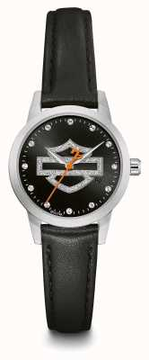 Harley Davidson 女士水晶黑色标志表盘黑色皮革表带 76L181