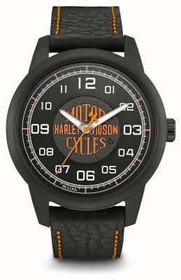 Harley Davidson 徽标印花黑色表盘ip电镀表壳黑色皮革表带 78A116