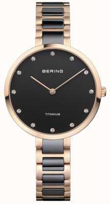 Bering 玫瑰金和黑色钛金水晶表盘 11334-762