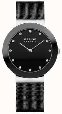 Bering 水晶镶表盘陶瓷表圈黑色网眼手链 11435-102