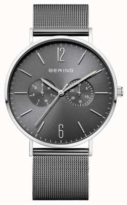 Bering 经典深灰色表盘日期和日期显示网格手镯 14240-309