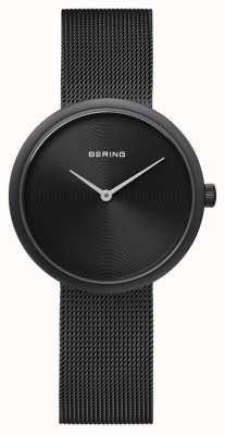 Bering 经典哑光黑色黑色网状表带 14333-222
