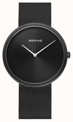 Bering 经典哑光黑色表盘黑色网状表带 14339-222