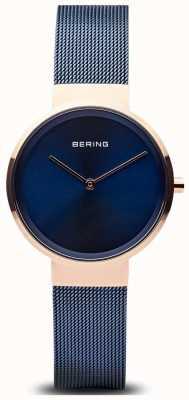 Bering 女式经典蓝色表盘玫瑰金表壳蓝色ip镀金网布 14531-367