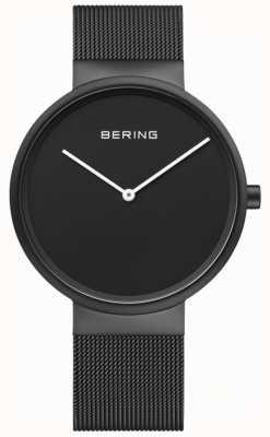 Bering 男士经典黑色表盘黑色ip涂层网眼手链 14539-122