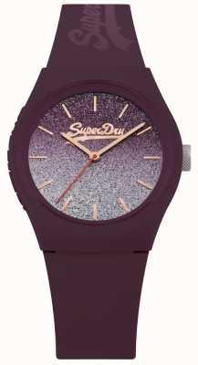 Superdry 女士闪光表盘,紫色硅胶表壳和表带 SYL179R