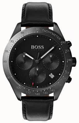 Hugo Boss 黑色人才计时码表黑色表盘黑色皮革 1513590
