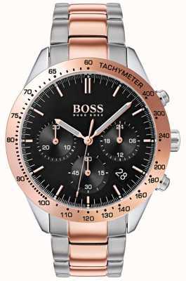 Hugo Boss 男士天赋黑色表盘玫瑰金和银色双色手镯 1513584