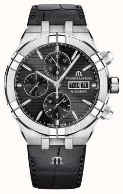 Maurice Lacroix Aikon自动计时黑色皮表带手表 AI6038-SS001-330-1