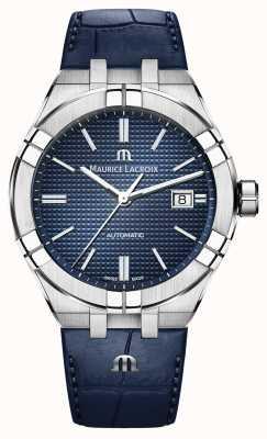 Maurice Lacroix Aikon自动蓝色表盘蓝色皮革手表 AI6008-SS001-430-1