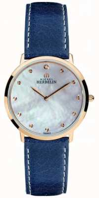 Michel Herbelin 女装ikone蓝色皮革表带珍珠母贝表盘 16915/PR59BL