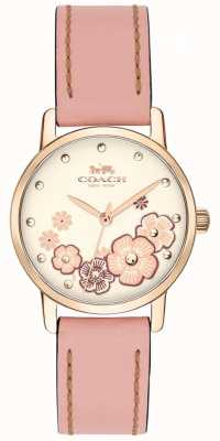 Coach 女式超大粉红色真皮表带奶油花卉表盘 14503060
