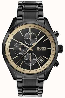 Hugo Boss 男士大奖黑色ip /金色口音腕表 1513578