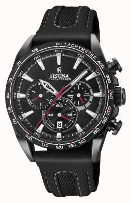 Festina 男士黑色镀铂金chrono手表皮表带 F20351/3