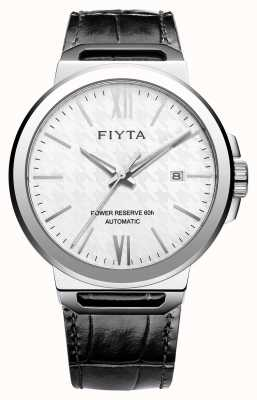 FIYTA Solo自动黑色皮革白色表盘蓝宝石 GA852000.WWB