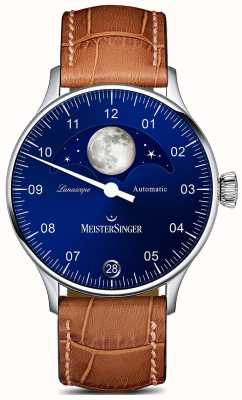 MeisterSinger Pangea lunascope棕色表带蓝色表盘 LS908