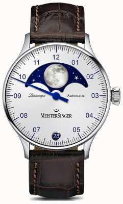 MeisterSinger Pangea lunascope银色表盘棕色皮革表带 LS901
