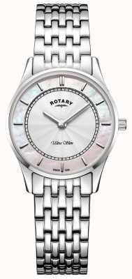 Rotary 女式超薄银色调手镯表盘珠母贝母 LB08300/07