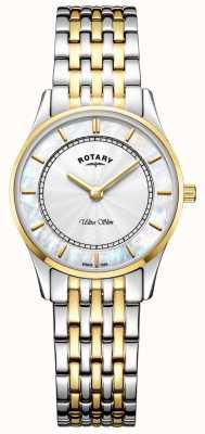 Rotary 女式超薄双色调手镯表盘母贝 LB08301/41