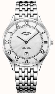Rotary 男士超薄白色表盘不锈钢腕表 GB08300/01